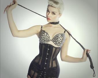 Mesh girdle corset, black, see-through, tightlacing