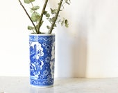 Antique Chinese Vase porcelain vase white flower motifs and blue handpainted Chinese craft cylindrical 25.5 cm
