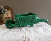 Small ceramic wheelbarrow, ancient French earthenware. Decorative object, small pot in vintage earthenware, spirit quot Garden quot .