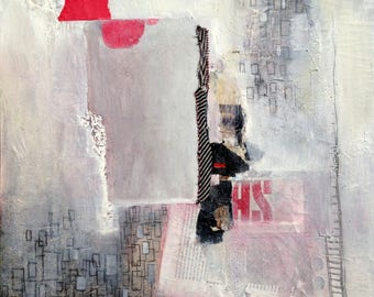 original mixed media collage painting 16x20 Shhh by Angie Brown