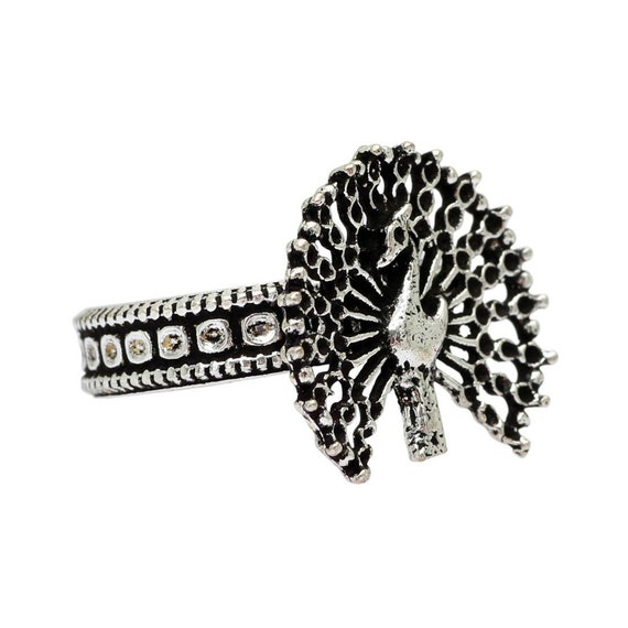 Gift for Her Mother/'s Day Oxidised Peacock adjustable Ring Indian Jewelry Christmas Navratri Handmade Silver Color Bollywood Ring