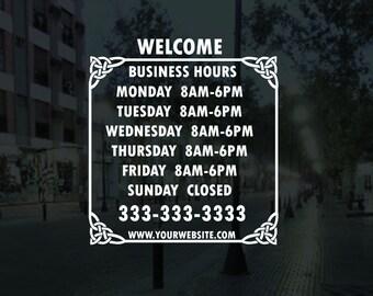 store hours decal-business open hour sticker-door & window sign-store front vinyl lettering