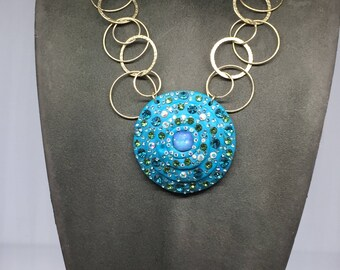 Chain necklace with FIMO and SWAROVSKI Pendant