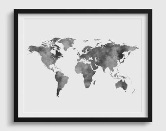 Watercolor world map etsy gray world map watercolor world map world map poster world map print world map wall art watercolor gumiabroncs Images