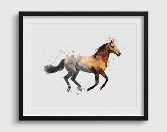 Bon Horse Print, Watercolor Horse, Horse Printable, Horse Wall Art, Forest Wall  Art, Animal Printable, Animal Wall Art