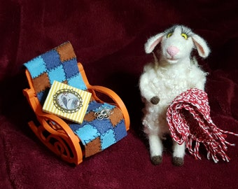 Cute sheep, curly sheep, sheep in rocking chair, glamorous sheep with scarf, sheep with book