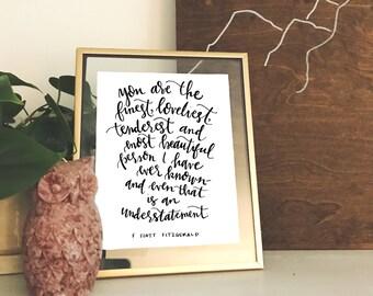 Hand-lettered F Scott Fitzgerald Print
