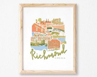 Bright Richmond, Va Collage Print || RVA Skyline Art || Downtown Richmond Christmas Gift