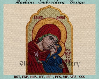 """Icon of Saint Anna Mother of Virgin Mary 3x4.5"""" digital machine embroidery design."""