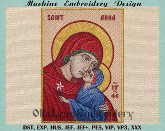 """Icon of Saint Anna Mother of Virgin Mary 5x7"""" digital machine embroidery design."""