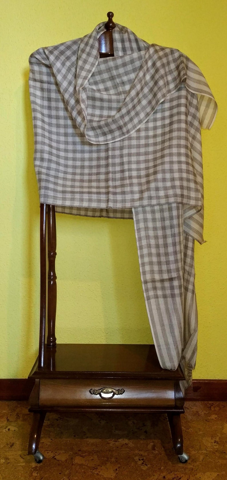 424eaa34dfa7b Real pashmina Kashmir shawl in beige and grey. Indian pashmina | Etsy