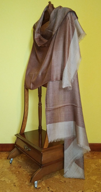 496ea9f93fa24 Real pashmina Kashmir shawl in brown. Indian pashmina scarf. | Etsy