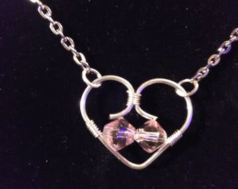 Wire Wrapped Heart with Glass Beads