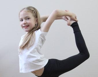 3725cf5bb72652 Gray leggings for girls Organic leggings for girls Tights for little girls  Yoga leggings cotton High waisted yoga pants Pretty leggings