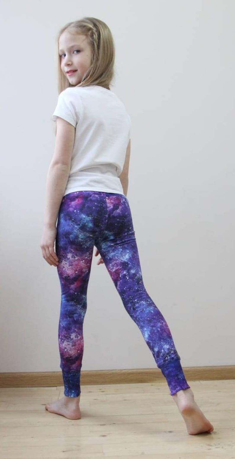 a7424b4f5a605b Girls leggings purple galaxy Purple leggings for toddler   Etsy