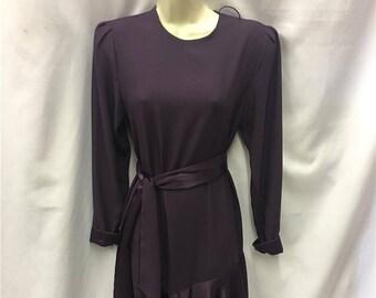 1980s Vintage Dress ~ Purple Flapper dress ~ 1920s Size 10