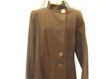 Vintage 1940s Coat ~ Brown ~ Size 10 ~ Genuine ~ Wool