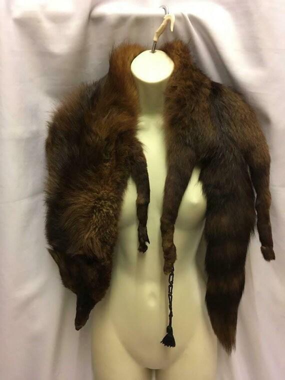 Vintage Genuine Fox Fur stole Wrap Cape 1930s 1940