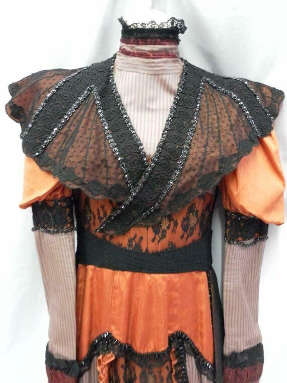 Edwardian Victorian dress Orange Black 12 Vintage