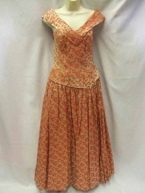1940s / 1950s Peach and Gold Brocade Evening Dress
