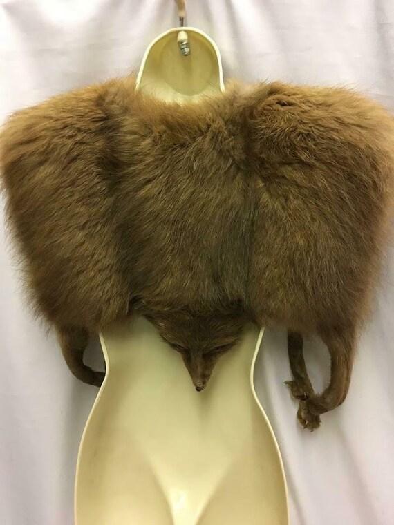 Vintage Genuine Fox Fur Jacket stole Wrap Cape 193