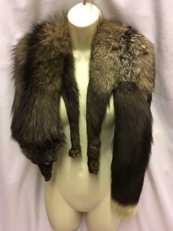 Vintage Silver fox Fur stole / Wrap / Cape 1930s 1