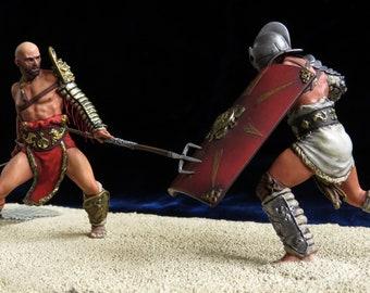Tin. 75mm +. Gladiator battle between the secutor and the retiari. «Pegaso»