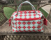Quilted, Hand Crafted Multi Purpose zippered Duffle Bag-Accessories-Purse-Utility Bag-Craft Bag-One of a Kind-Satchel-handbag