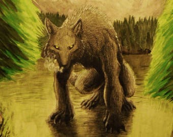 """11""""x14"""" Werewolf painting - """"Stand Off"""""""