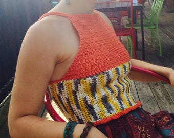 Multi Color Crochet Cropped Tank