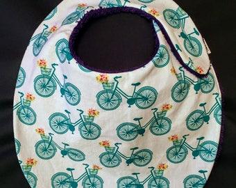 Bikes + Flowers Baby Bib