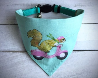 Dog Bandana   Squirrel Scooter Dog Over-the-collar Neckwear Accessory   Girly Squirrel Scooter Dog Slip-on Collar Gift Small Medium Large