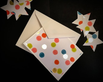 Set of 3: Blank Polka-Dot Greeting Cards with Envelopes