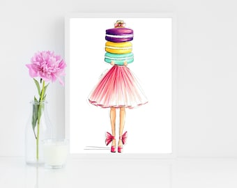 French Macaron Fashion Illustration Art Print Girl Best Friend Gift Gifts For Girlfriend Her