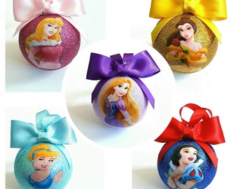 Princess Christmas Tree Baubles/Decorations - set of 5