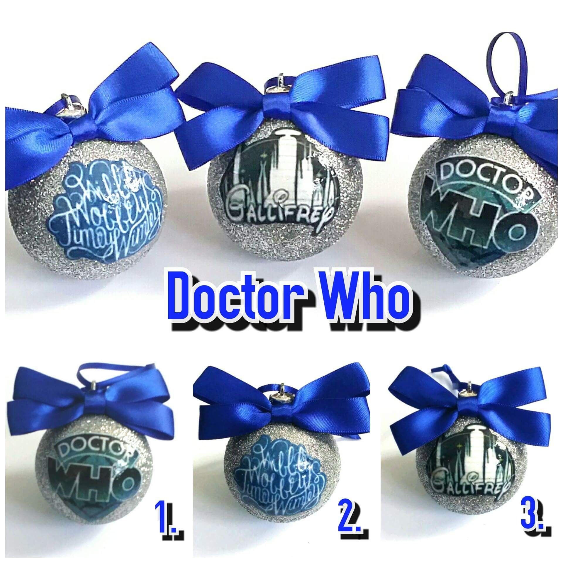 Dr Who Christmas Tree Baublesdecorations Set Of 3 Etsy