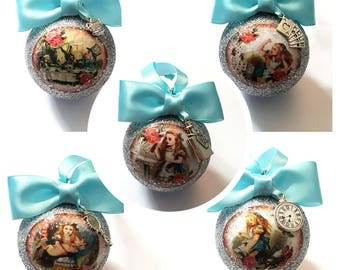 Alice in Wonderland Christmas Tree Baubles/Decorations - set of 5 with or without charms