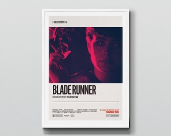 Blade Runner (1982) – Retro Movie Poster Art, Minimalist Design, Home Cinema, Vintage Film Poster, Ridley Scott, Harrison Ford, Dystopian