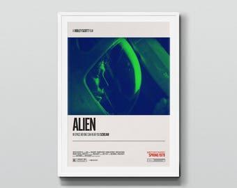 Alien (1979)  – Retro Movie Poster Art, Film Poster, Minimalist Design, Home Cinema, Vintage Typography Poster, Ridley Scott, H. R. Giger