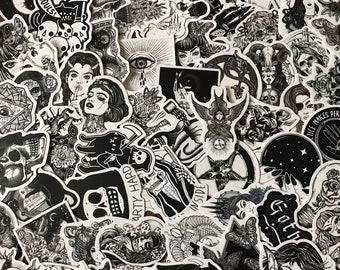 Horror Water Bottle Journal Stickers Goth Punk Skeleton Witch Stickers