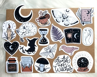 Waterproof Aesthetic Witch Sticker Pack   Great For Journals, Water Bottle, Phone, Computer, Gift, Journal   Moon Tarot Cards Cat Tea