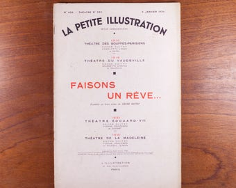 Small illustration 656, journal, make a dream of Sacha Guitry, comedy, theatre in 3 acts, 27 pages, January 1934, vintage