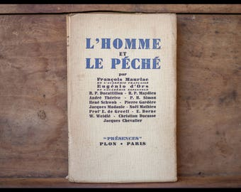 """Man and the fishing François Mauriac Eugenio of golds, """"presence"""" Collection, Librairie Plon, 1938"""