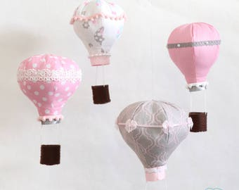 Pink and Gray Hot Air Balloon Mobile