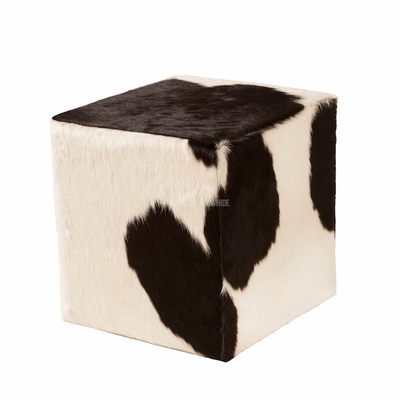 Strange Ottoman Cube Cowhide Black White Made In Usa 16X16 Inzonedesignstudio Interior Chair Design Inzonedesignstudiocom