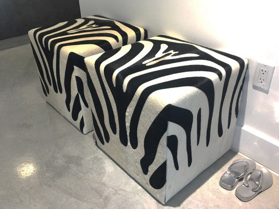 Marvelous Cowhide Cube Ottoman Zebra Print Hair On Hide Ottoman Brazilian Cow Hide Footstool Cowhide Square Pouf Animal Print Ottoman Creativecarmelina Interior Chair Design Creativecarmelinacom