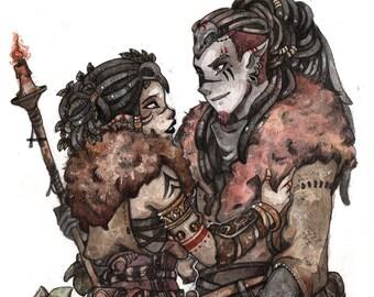 Watercolor original - Gaya and Guadrevin
