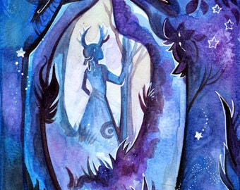 A5 - blue forest illustration