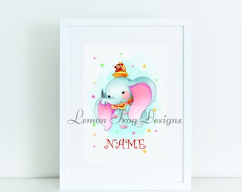 Personalised Disney's Dumbo Inspired A4 Print or Emailed