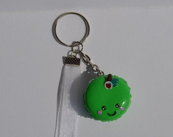 Keychain with macaron Apple and organza Ribbon